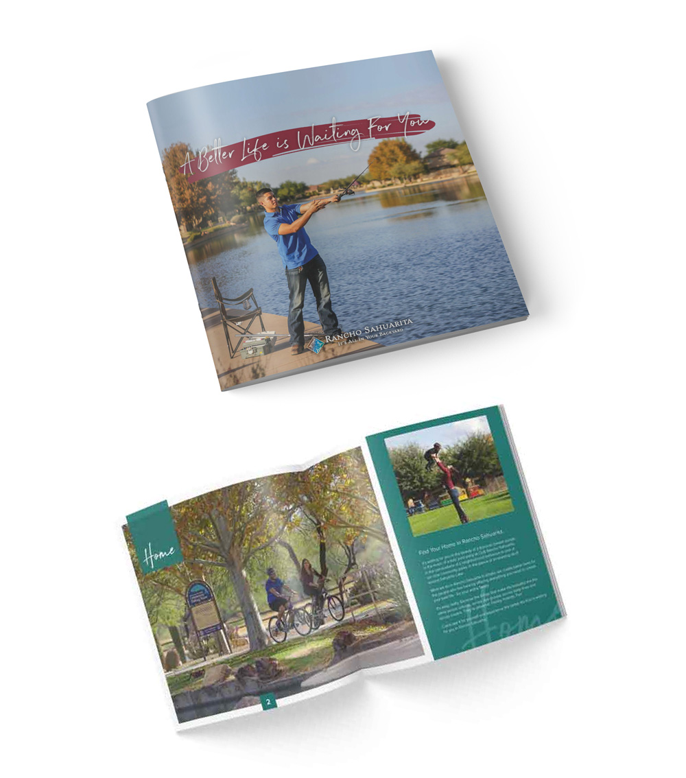 Mockup of a cover and spread of a booklet. The cover features a man casting a fishing line on Sahuarita lake.